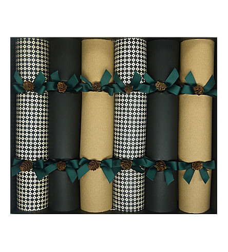 CRACKERS Black & white craft harlequin Christmas crackers pack of six