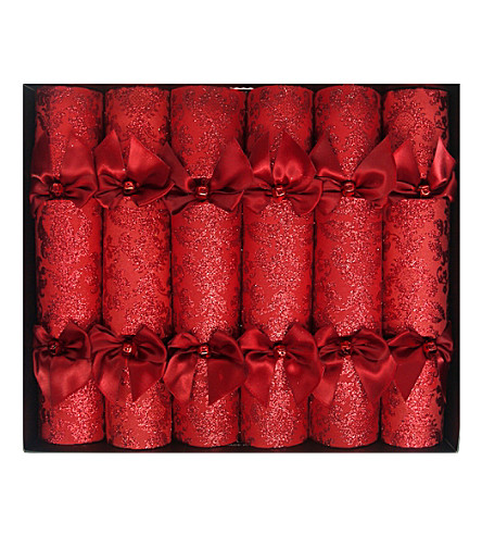 CRACKERS Crimson glitter Christmas crackers pack of six