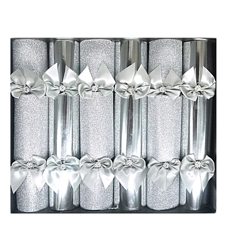 CRACKERS Silver foil & glitter Christmas crackers pack of six
