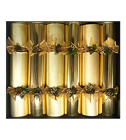 CRACKERS Gold & pinecone Christmas crackers pack of six
