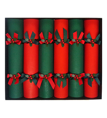 CRACKERS Red & green Christmas crackers pack of six