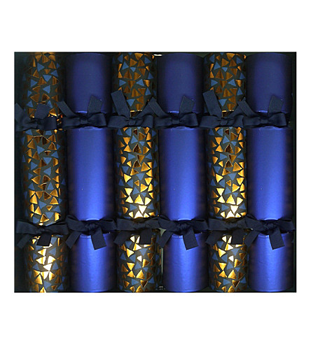 CRACKERS Blue and gold mosaic crackers box of 6