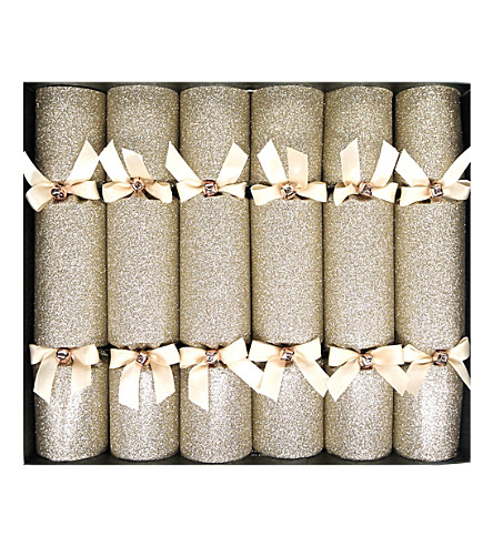 CRACKERS Champagne glitter crackers box of 6