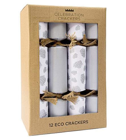 CRACKERS Silver pinecone Eco crackers - 12