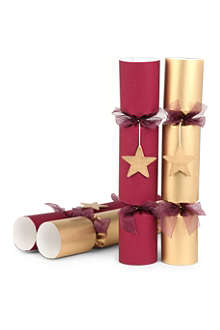 CHRISTMAS Box of six burgundy crackers