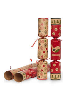 INTERNATIONAL GREETINGS Pack of 6 Kraft Christmas crackers