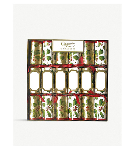CRACKERS Pack of 6 Gilded Holly crackers