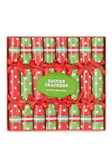 TALKING TABLES Jolly Holly set of eight saucer Christmas crackers