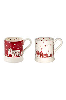 EMMA BRIDGEWATER Set of two Christmas Town half pint mugs