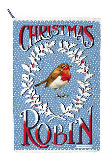 EMMA BRIDGEWATER Robin in a Snowstorm tea towel