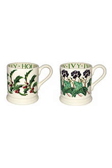 EMMA BRIDGEWATER Set of two Holly and Ivy half pint mugs