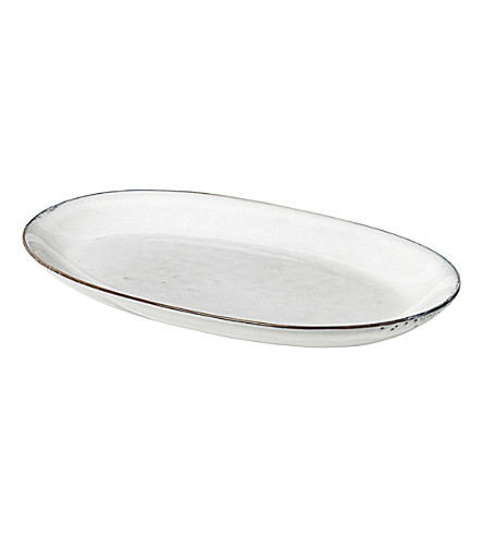 BROSTE Nordic Sand stoneware oval plate