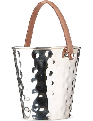CULINARY CONCEPTS Silver-plated wine cooler with leather handle