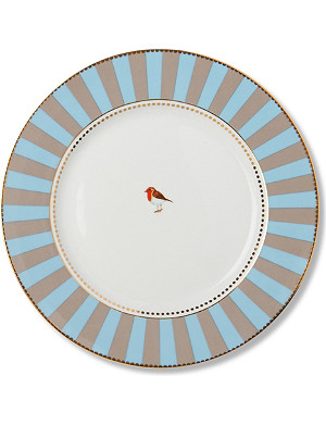 LOVE BIRDS Love birds dinner plate blue⁄khaki stripe 26.5cm