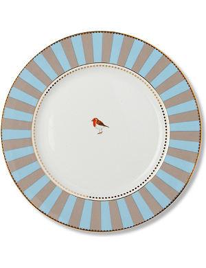 LOVE BIRDS Love birds dinner plate blue⁄khaki stripe 26.5cm