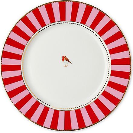 LOVE BIRDS Love birds dinner plate red⁄pink stripe 26.5cm