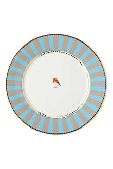 LOVE BIRDS Love birds plate blue⁄khaki stripe 21cm