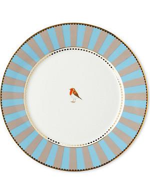 LOVE BIRDS Love birds plate blue⁄khaki stripe 21cm