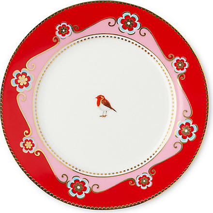 LOVE BIRDS Love birds side plate red⁄pink medallion 17cm