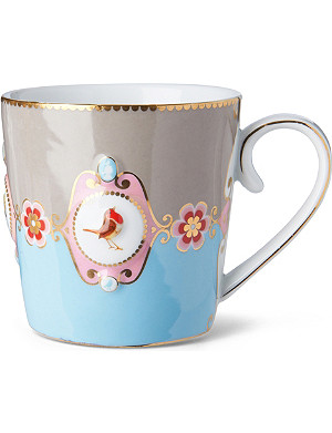LOVE BIRDS Love birds blue⁄khaki medallion mug large