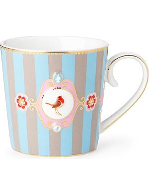 LOVE BIRDS Love birds blue⁄khaki stripe mug large