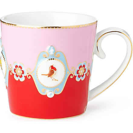LOVE BIRDS Love birds red⁄pink medallion mug large
