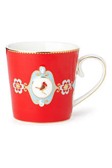 LOVE BIRDS Love birds red medallion mug large