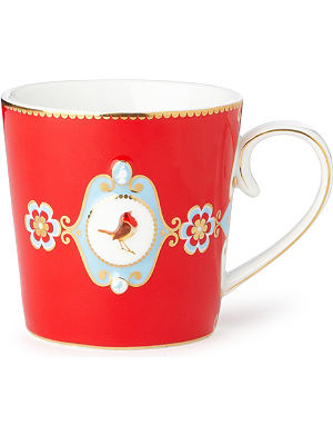 LOVE BIRDS Love birds red medallion mug large