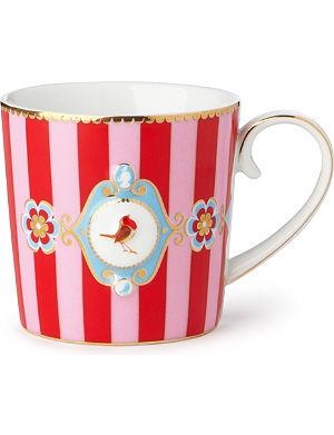 LOVE BIRDS Love birds red⁄pink stripe senseo mug small