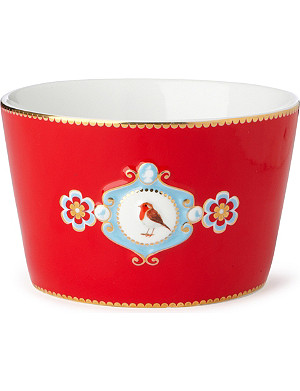 LOVE BIRDS Love birds bowl red medallion 12.5cm