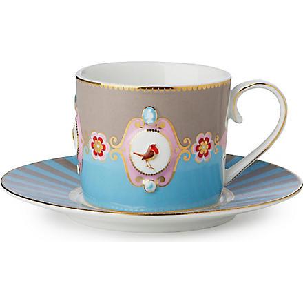 LOVE BIRDS Love birds cup and saucer blue⁄khaki medallion