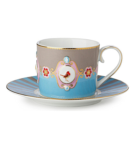 LOVE BIRDS Love birds cup and saucer blue⁄khaki medallion