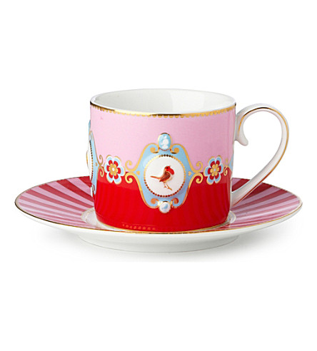 LOVE BIRDS Love birds cup and saucer red⁄pink medallion