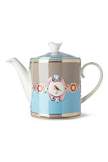 LOVE BIRDS Love birds teapot blue⁄khaki medallion