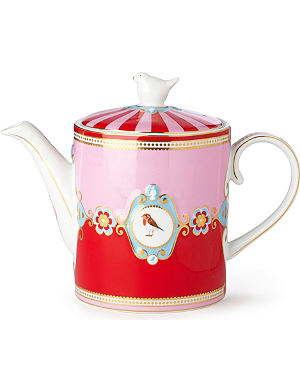 LOVE BIRDS Love birds teapot red⁄pink medallion