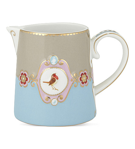 LOVE BIRDS Love birds milk jug blue⁄khaki medallion