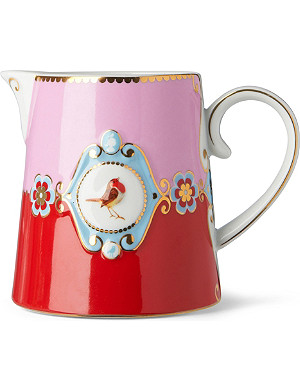 LOVE BIRDS Love birds milk jug red⁄pink medallion