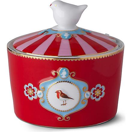 LOVE BIRDS Love birds sugar bowl red medallion