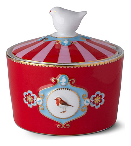 LOVE BIRDS Love birds sugar bowl red medallion