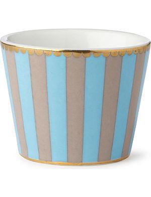 LOVE BIRDS Love birds egg cup blue⁄khaki stripe