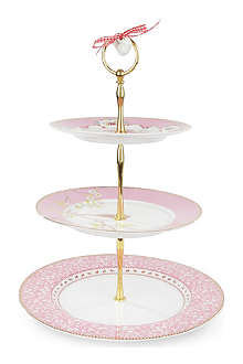 PIP STUDIO Pink three-tiered cake stand