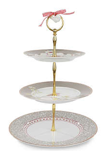 PIP STUDIO Khaki three-tiered cake stand