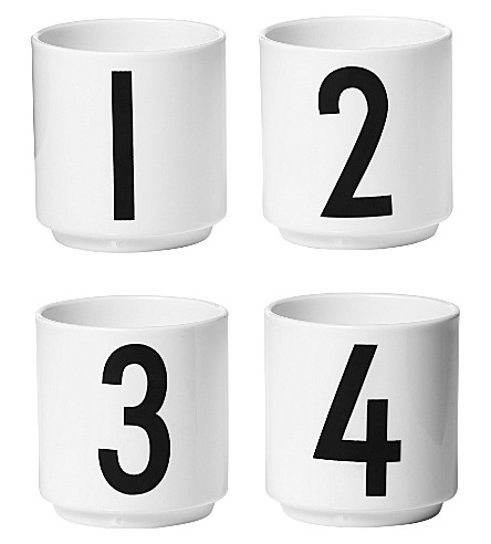 DESIGN LETTERS Set of four Arne Jacobsen bone china esspresso cups