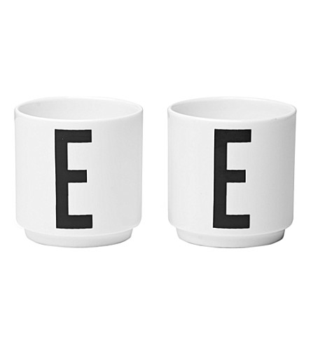 DESIGN LETTERS Set of two E bone china egg cups