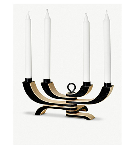 DESIGN HOUSE STOCKHOLM Nordic Light foldable four-arm wooden and metal candlabra