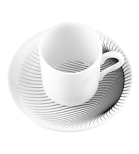 ZAHA HADID Illusion coffee cup and saucer pair