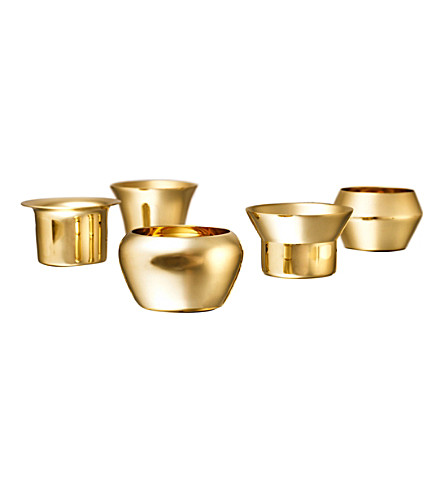 SKULTUNA 1607 Set of 5 Kin brass candle holders