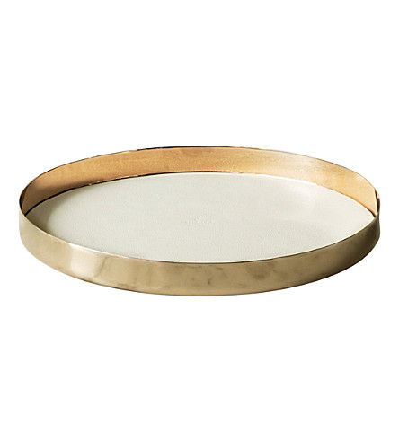 SKULTUNA 1607 Medium Karui brass and leather tray