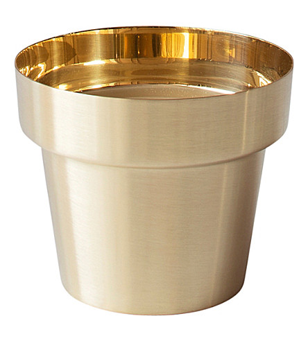 SKULTUNA 1607 Polished brass flower pot, large