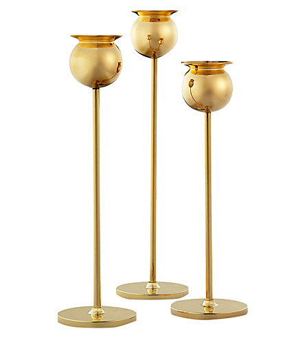 SKULTUNA 1607 Set of 3 Tulip brass candlesticks